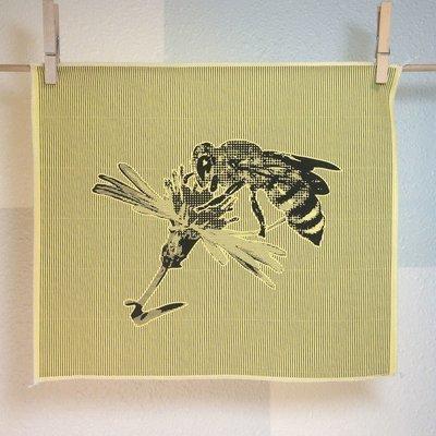 Honeybee - Hand Printed Fabric Panel
