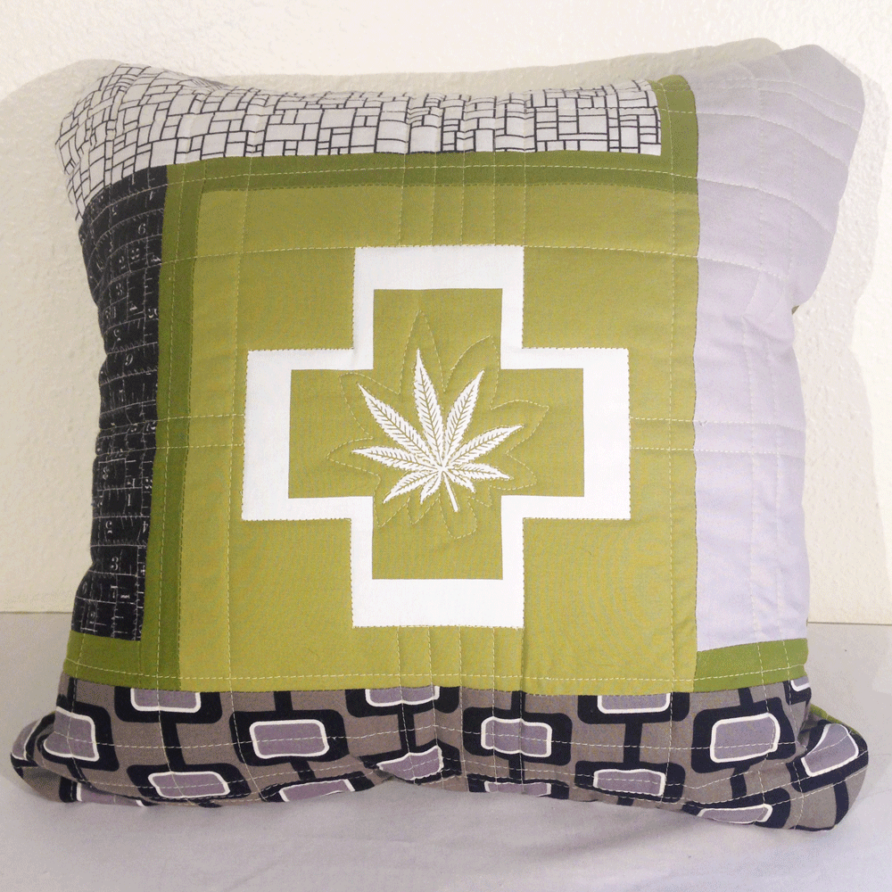Quilted Cannabis Pillow Cover No.2