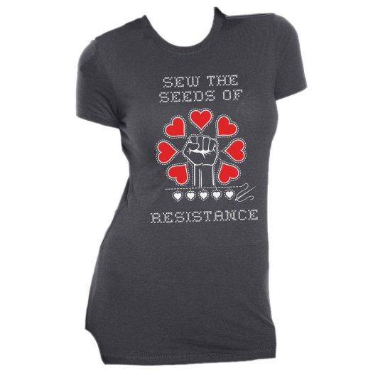 Sew The Seeds of Resistance - Slim Fit Tee - Grey MEDIUM AT01013