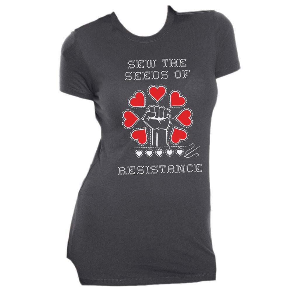 Sew The Seeds of Resistance - Slim Fit Tee - Grey MEDIUM