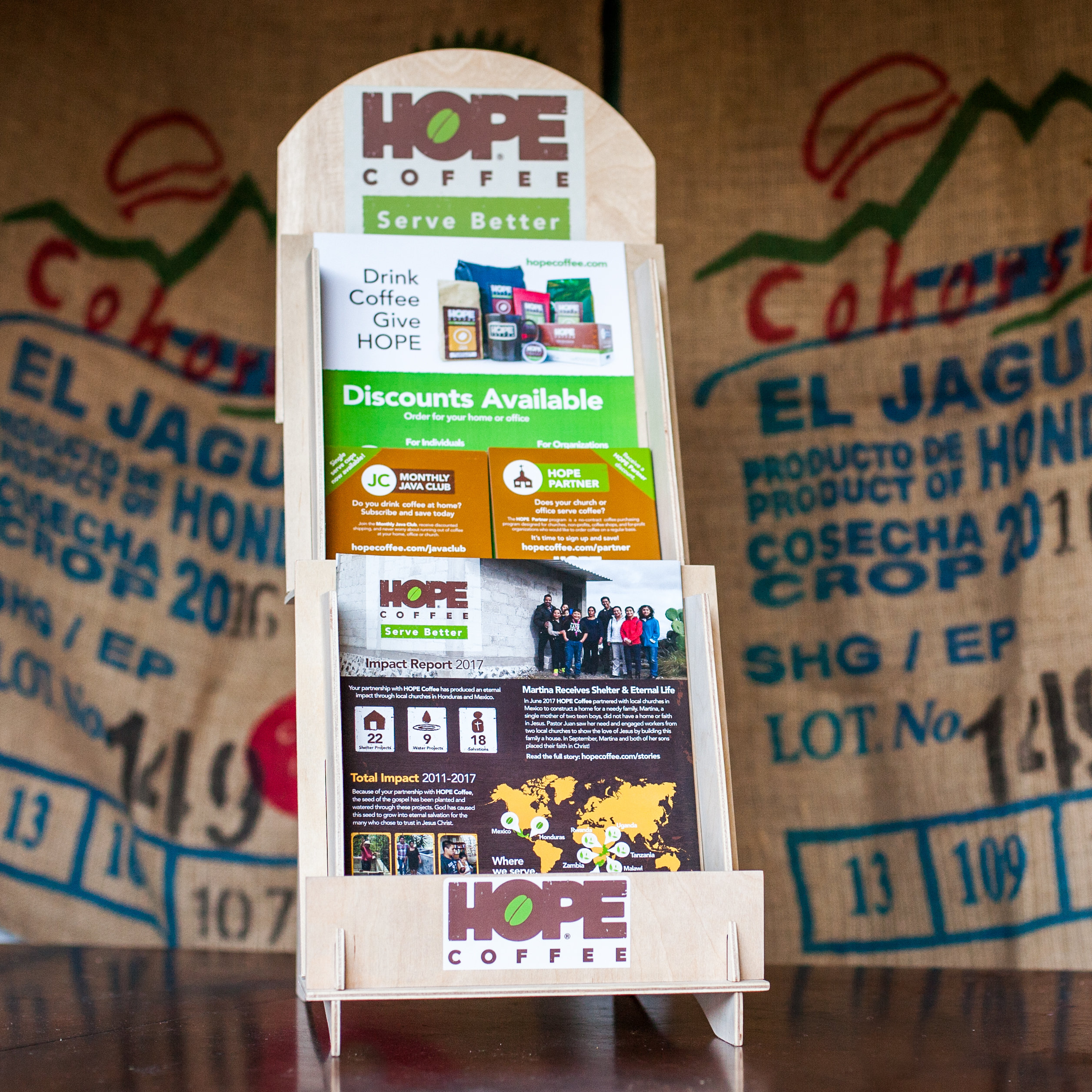 For HOPE Partners: Free HOPE Coffee Display with informational materials MM016
