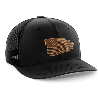 Hat - Leather Patch: Tattered Flag