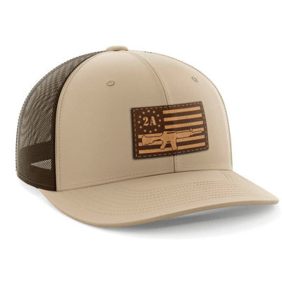 Hat - Leather Patch: AR15 American Flag