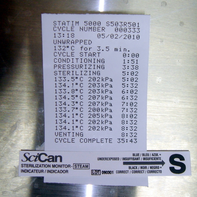 Chemical Indicator and Statim 5000 Printout
