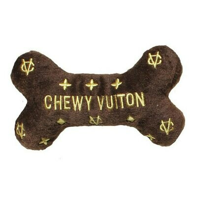 Dog Diggin Designs Chewy Vuiton Brown Bone Toy Small
