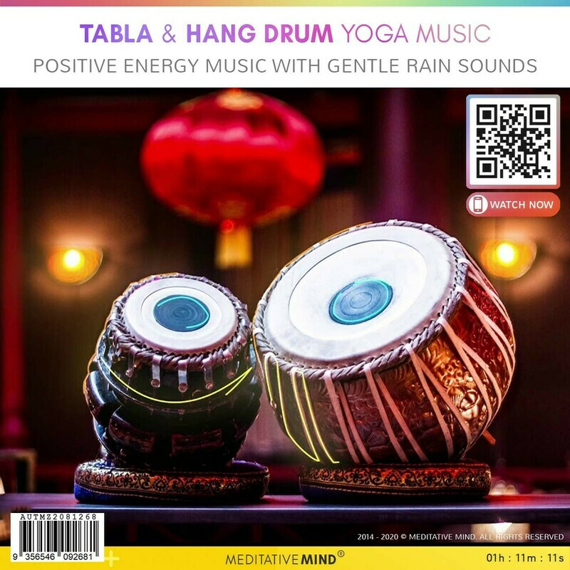 TABLA & HANG DRUM YOGA MUSIC - Positive Energy Music with Gentle Rain Sounds