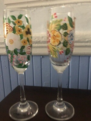 Handpainted Champagne Flutes - Set of Two
