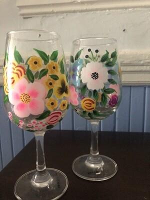 Handpainted Wine Glasses - Set Of Two