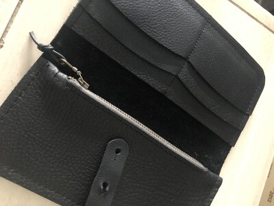 Leather Wallet With Zip Pouch - Black