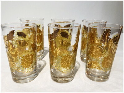 Mid Century Set Of Six High Ball Glasses