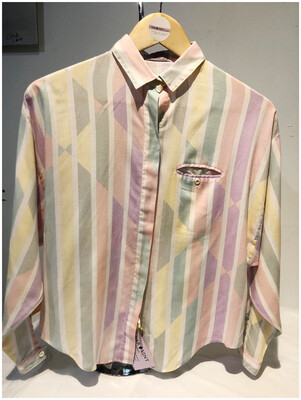 Vintage 80's Pastel Striped Top With Front Pocket