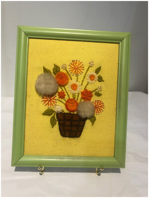 Vintage Crewel Embroidered Framed Wall Art