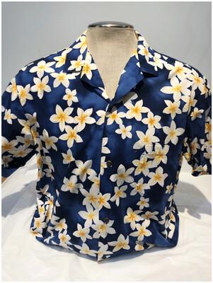 Men's Vintage Hawaiian Shirt with Blue Flowers