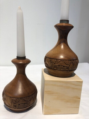 Vintage Hand Carved Wood Candlesticks