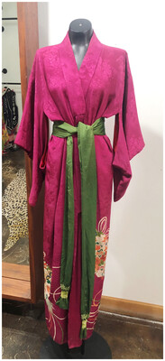 Handmade 1950's Silk Kimono Robe with Sash