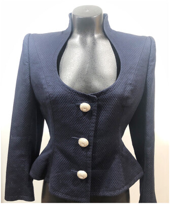 Andrea Odicini Couture Fitted Crop Blazer