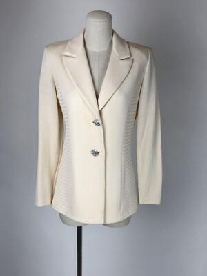 St. John 80's Knit Crystal Button Blazer
