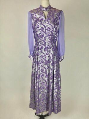 60's Brocade Sheer Puff Sleeve Maxi Dress