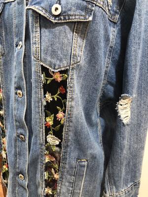 Repurposed Distressed Jean Jacket With Sheer Flower Panels