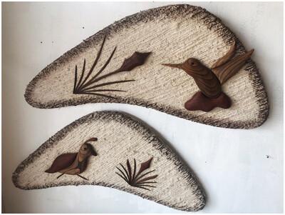 Mid Century Boomerang Fiber & Wood Wall Decor By Paul Hallowell