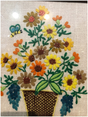 Mid Century 1960's Embroidery Flower Bouquet Framed Wall Art