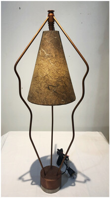 Mid Century Tri Pod Metal Lamp With Original Shade