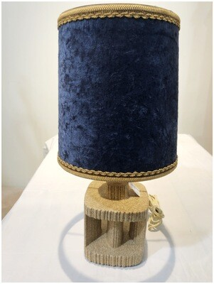 Mid Century Breeze Block Table Lamp With Original Blue Velvet Shade