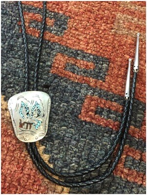 Vintage Alpaca Mexico Sterling With Turquoise & Coral Signed Bolo Tie