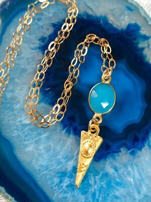 """Handmade 14kt Gold Filled Chain With Blue Chalcedony Gemstone And Gold Plate Triable Pendant, 18"""""""
