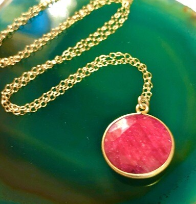 Handmade 14kt Gold Filled Chain With Faceted Ruby Gemstone Pendant, 18""