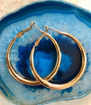 """Modern Gold Hoops, 1 1/2"""""""