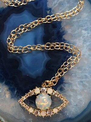 Handmade 14kt Gold Filled Chain With Evil Eye Pendant Of Opals, 18""