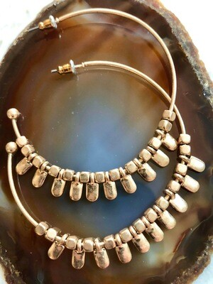"""Brushed Gold Toned Gold Hoops, 2"""""""