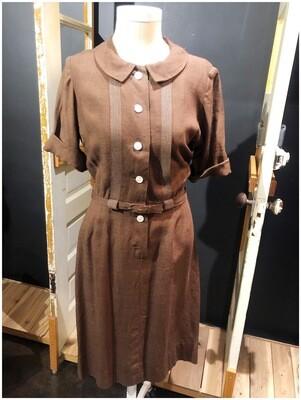 Vintage 1950's Handmade Linen Belted Dress with Pocket