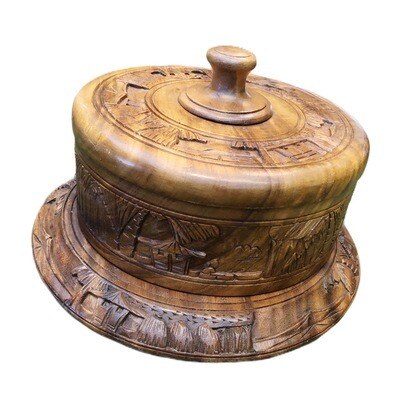 Mid Century Hand Carved Teak Wood Covered Cake Lazy Susan Stand