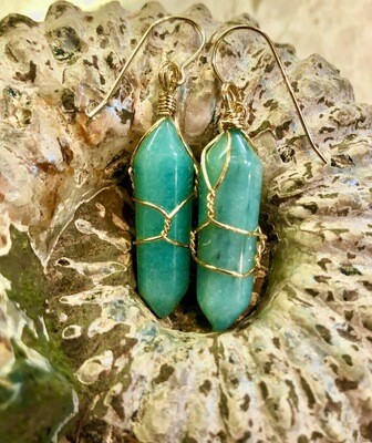 Amazonite Gemstones Wrapped Earrings 14kt Gold French Wires