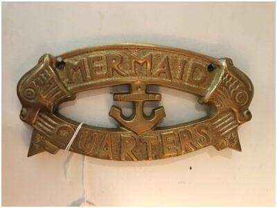 Modern Brass Mermaid Quarter Sign