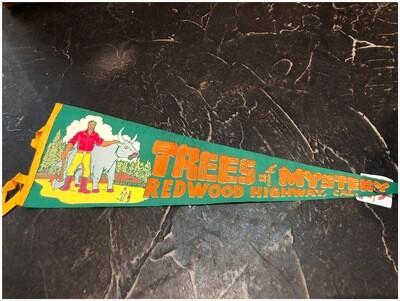 Vintage 1960's Tree Of Mystery, Redwood Highway, CAL Felt Banner