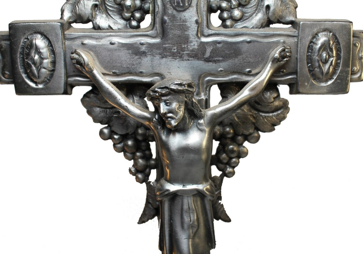 German Altar Crucifix/Candle Holder
