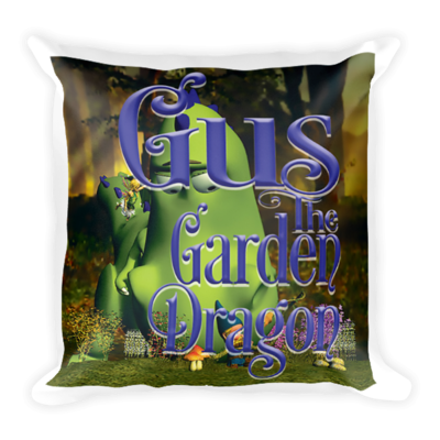 Gus the Garden Dragon Square Pillow