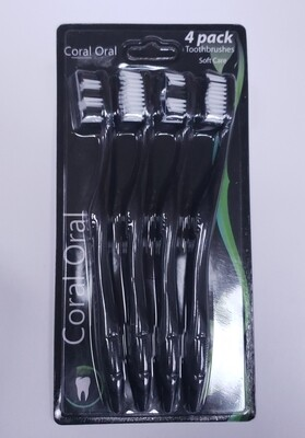 Coral Oral Soft Care Toothbrushes- 4 pack