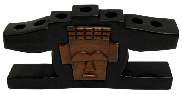 Kwanzaa Mask Candleholder (Black) - Made in Ghana