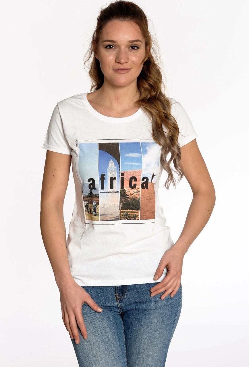 AFRICA. Travel tee white