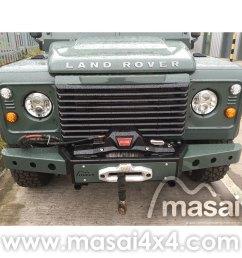 masai warrior front winch bumper for land rover defender silver black  [ 1000 x 1000 Pixel ]