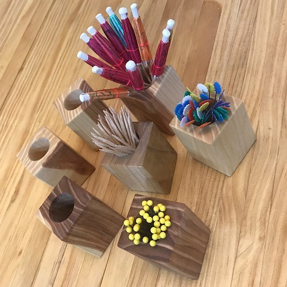 Wooden Toothpick Holder | Toothpick Cup | Drink Umbrella Holder | Pin Cup