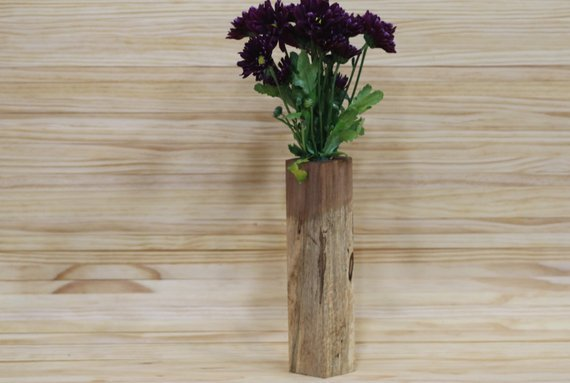 Unique Wooden Flower Vase | Hand Crafted Bud Vase | Decorative Vase | Wooden Bud Vase