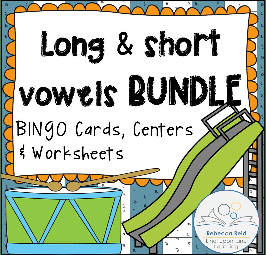 Long Vs Short Vowels Bundle Bingo Game Cards Amp Practice Worksheets