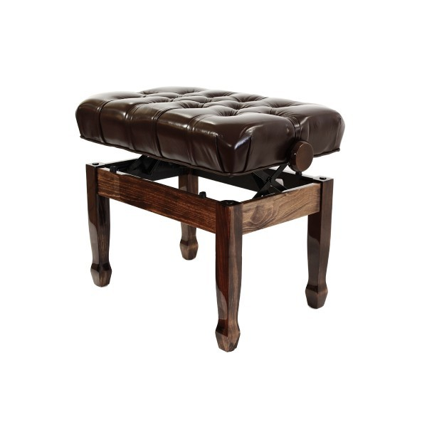 Cadenza - Real Leather Adjustable Piano Stool - Polished Walnut