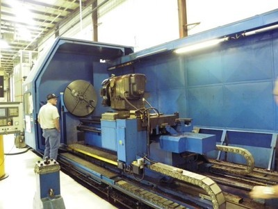 "​1 - USED 39""/120"" X 98""/157"" BINNS & BERRY CNC UNIVERSAL SLIDING BED GAP LATHE"