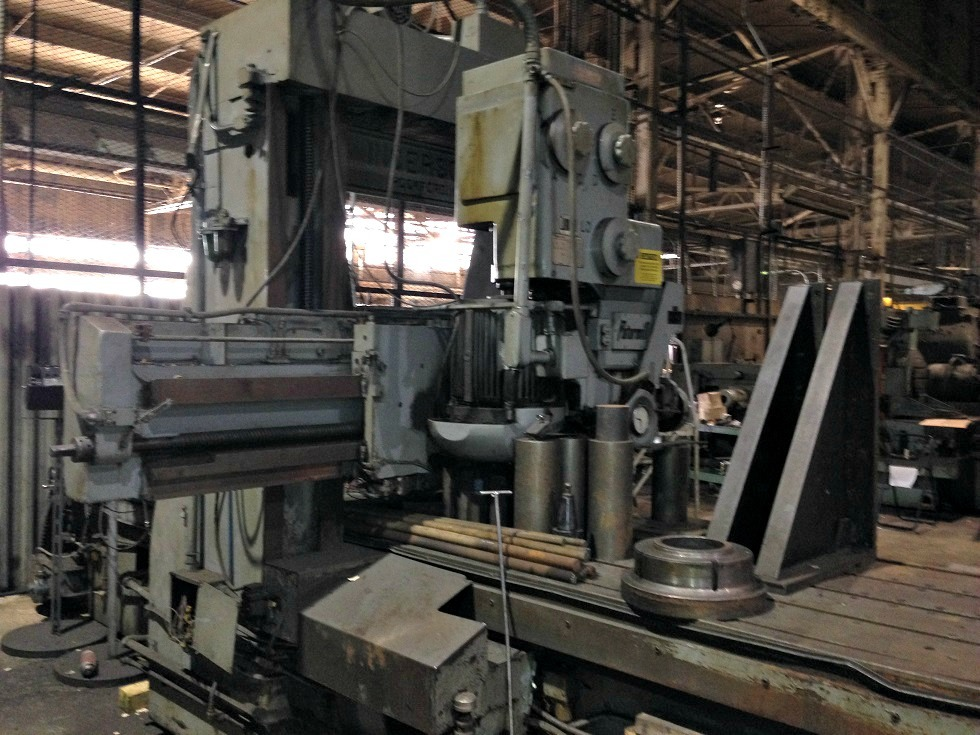 """1 – USED 44"""" X 36"""" X 120"""" INGERSOLL DOUBLE HOUSING, ADJUSTABLE RAIL PLANER MILL C-4077"""